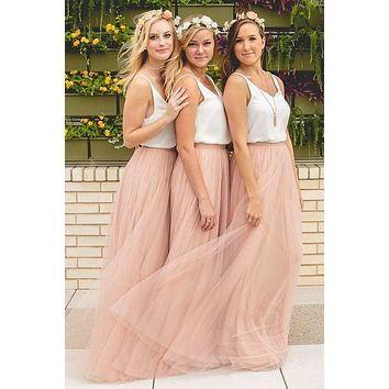 Hot Cheap Peach Color Bridesmaid Dresses Long 2017 Floor Length Tulle Pleated Wedding Party Dress robe demoiselle d'honneur