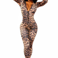 2015 New Sexy Women Autumn Bodycon Jumpsuit Overalls Open Front Leopard print catsuit Fashion Kitten Club Catsuit LC6961