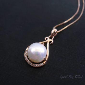 Bridal Freshwater Pearl Necklace Rose Gold Box, Dainty Single Large Pearl Solitaire CZ Pendant High quliaty