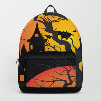 Halloween night with Bats coming out of Castle Backpack by MelvinWarEagle