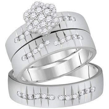 14kt White Gold His & Hers Round Diamond Cluster Matching Bridal Wedding Ring Band Set 5/8 Cttw - FREE Shipping (US/CAN)