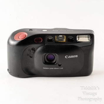 Canon Sure Shot 35mm Auto Focus Point and Shoot Film Camera with Genuine Leather Soft Pouch - Working