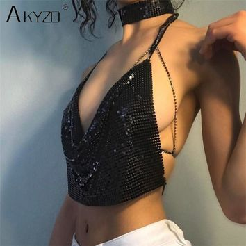 AKYZO Women 2018 Sexy Metal Sequined Tank Camis Summer Gold Silver Backless Cropped Glitter Beach Club Show Wear Tank Tops