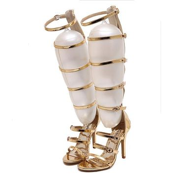 2017 fashion wedding party bridal knee high summer boots strappy gladiator roman sandals cage open toe stiletto Heels gold pumps