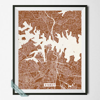 Sydney Street Map Print, Australia Poster, Sydney Poster, Australia Map Print, New South Wales, Wall Art, Room Decor, Back To School