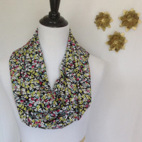 Floral silky Infinity scarf, infinity scarf, fall scarf, gift monogrammed gift