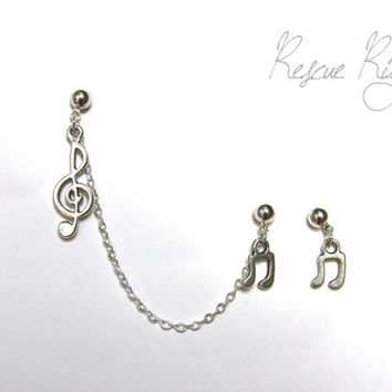 Treble Clef Ear Cuff Chain Earring