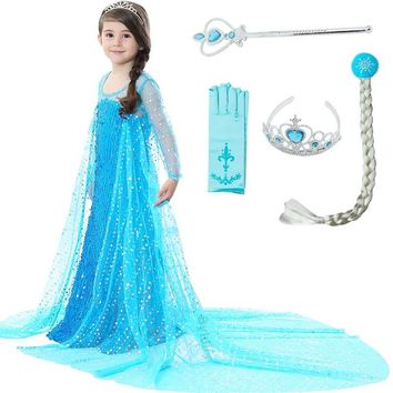 Sequins Decoration Girls Elsa Costume Dress Cosplay with Wig Crown Wand Wig for Kids Children Princess Elsa Dress Party Dresses