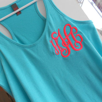 Racerback Tank Top Monogram  Font Shown by MONOGRAMSINC on Etsy