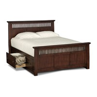American Signature Furniture - Arts & Crafts Dark Storage Bedroom Queen Storage Bed