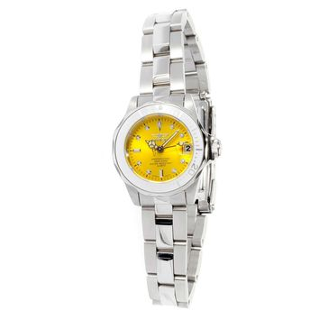 Invicta 12520 Women's Pro Diver Yellow Sunray Dial Stainless Steel Dive Watch