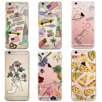 2017 Hot Ultrathin Soft TPU Phone Cases for iPhone 7 7Plus 6 6s 5 5S SE Case Cute Cartoon Space Ice Pizza Mobile Phone Cover