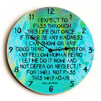 I Expect Unique Wall Clock by Artist Lisa Weedn