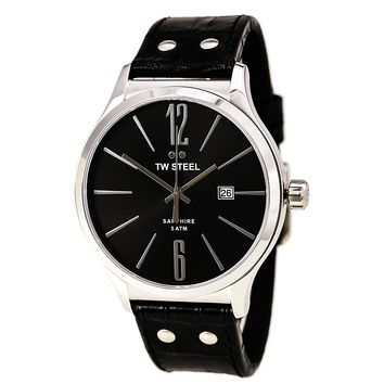 TW Steel TW1300 Unisex Slim Line Black Dial Black Leather Strap Watch