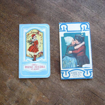 2 Old Fashioned Vintage Needle Books: Little Girl with Holly Home Needle Case + Reading Wall Paper Needle Folder; Romantic Dutch Couple