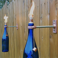 3 Cobalt Blue Wine Bottle Tiki Torches  by GreatBottlesofFire