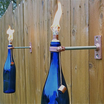 3 Cobalt Blue Wine Bottle Tiki Torches - Outdoor Lighting - Gift for Dad - Hurricane Lamp - Outdoor Tiki Torch