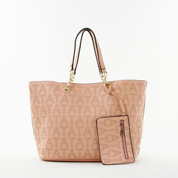 Perforated Double Bag Tote in Peach
