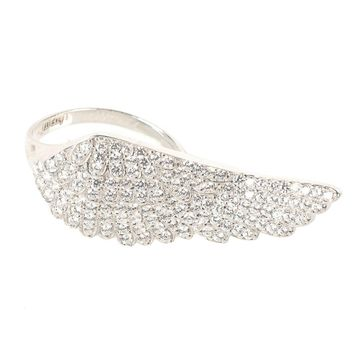 925 Sterling Silver Large Angel Wing Ring