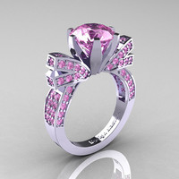 French 14K White Gold 3.0 CT Light Pink Sapphire Engagement Ring, Wedding Ring R382-14KWGLPS