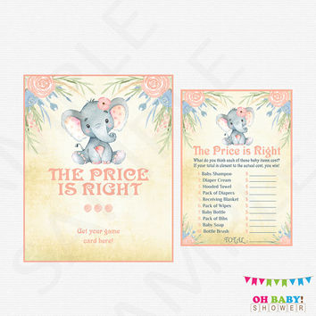 Elephant Baby Shower, The Price is Right Baby Shower Game, Baby Shower Sign, Baby Price is Right, Girl Baby Shower, Printable Download, ELWP