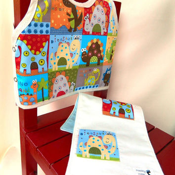 Baby Gift Set, Bib and Burp Cloth, Dinosaur Theme 6 by maddywear