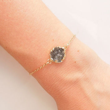 Druzy Bracelet in Grey - OOAK Jewelry