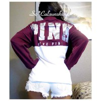 Victoria's Secret maroon crew jersey top($ 55) - Mercari: Anyone can buy & sell