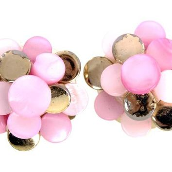 Vintage  Pink MOP & Gold  Earrings Clip Backs 1950s Japan