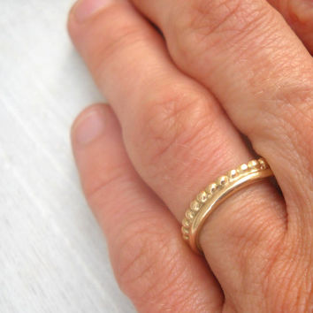 Gold crown ring. 14k Gold wedding ring. Crown ring. Handmade.