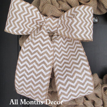 White/Natural Chevron Print Burlap Bow, Wreath Bow, Spring, Easter, Fall, Winter, Floral Bow, Wedding, Nursery, Year Round, Multipurpose
