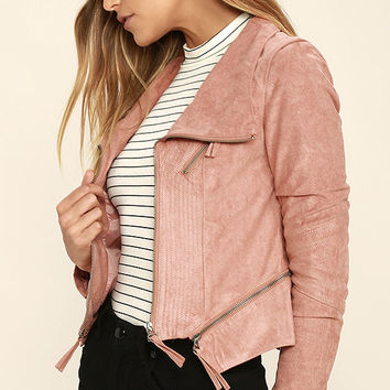 Ready For Anything Blush Pink Suede Moto Jacket