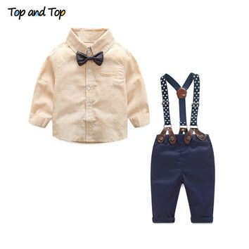 Top and Top Formal Baby Boy Clothing Set Autumn Stripe Long Sleeve Bow Tie T-shirt+Suspenders Pants Cotton Baby Clothes