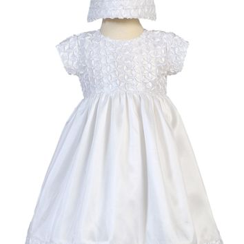 Taffeta Christening Dress with Floral Ribbon Embroidery - Baby Girls Newborn - 18 months