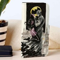 Cat Woman & Batman | Superheroes | Movie | custom wallet case for iphone 4/4s 5 5s 5c 6 6plus 7 case and samsung galaxy s3 s4 s5 s6 case