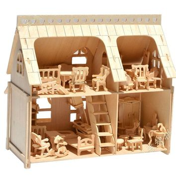 BOHS Large Porch Full  House with Veranda DIY Model 3D Puzzle, with  34 pcs Furnitures 33*30*20