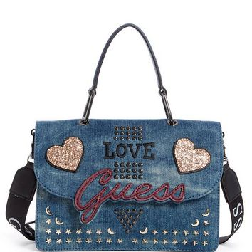 In Love Denim Top Handle Flap Crossbody at Guess