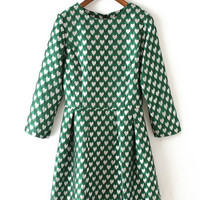Green Hearts Fit And Flare Mini Dress