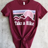 distracted - take a hike women's favorite cotton tee - maroon
