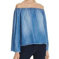 Bella Dahl Frayed Off-The-Shoulder Chambray Shirt | Bloomingdales's