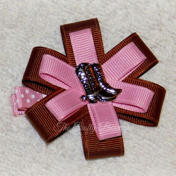 Cowgirl Hair Bow ~ Small Cowgirl Bow ~ Cowgirl Hair Clip ~ Pink & Brown Bow ~ Western Hair Bow ~ Rodeo Hair Clip ~ Cowgirl Boots Bow ~ Pink