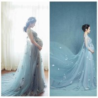 Maternity Dresses for photo shoot Wedding Party Long Pregnant Women Dresses for baby showers Fancy Maternity Photo Shooting
