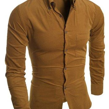 Slimming Turn-Down Collar Long Sleeve Button-Down Corduroy Men's Shirt - Earthy - 2xl