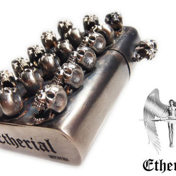 Etherial Handmade Sterling Silver Heavy Screaming Skull Lighter with Zippo Lighting Mechanism