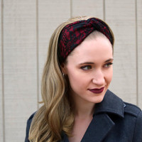 Burgundy Headband, Black Lace Headband, Burgundy Vintage Headband, Black Lace Faux Head Wrap for Women, Black Floral Fabric Headband Adult