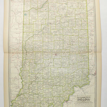 1899 Antique Indiana Map, Century Map of Indiana, Vintage IN Map, US Geography Decor, Indiana Gift for Couple, 1st Anniversary Gift