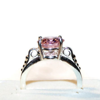 Pink Diamond Ring, Sterling Silver Scroll Ring, Ring With Pink Stone,Pink Cubic Zirconia Ring