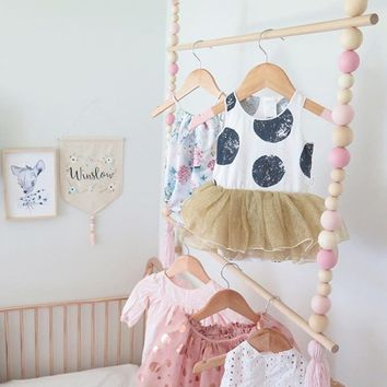 Fashion Nordic Style Tassel  Wooden Beads Clothes Rack Kids Room Decor Wall Hanger Ornament Home Decor