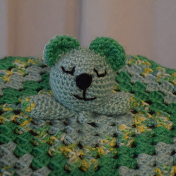 Teddy bear head secuity blanket-crochet-green and mint green