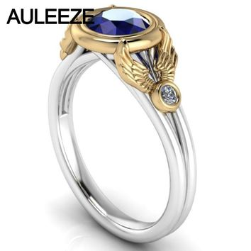 Superb 1CT Simulated Sapphire Diamond Engagement Ring 10K Two-tone Gold Split Shank Ring Solid White Yellow Gold Wedding Ring